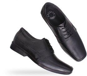 Groofer Men's Black Genuine Leather Lace-Up Formal Shoe