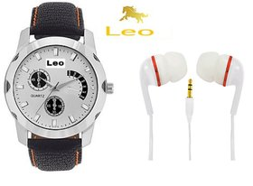 Leo Combo Of Round Dial Strap Analog Wrist Watch+Headph