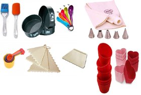 COMBO OF ROUND SPRING FORM, SPATULA, BRUSH, MEASURING CUP, SPOON, DECORATING COMB, SCRAPPER, ICING BAG SET  MUFFIN