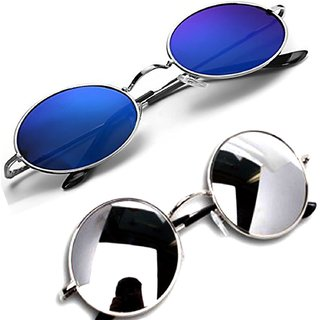 Derry Round Full Rim Mirrored Sunglasses - Combo