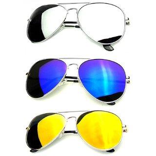 Pack OF 3 Mirrored Aviator Sunglasses