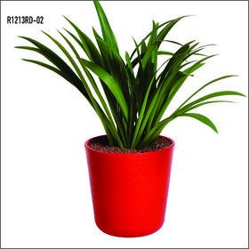 Sereno Bello Plastic Flower Pot Round Planter (12 x 13)  in  Red finish(Garden flower pots / Artificial plants)