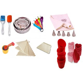 COMBO OF ROUND,HEART  FLOWER MOULD,SPATULA,BRUSH,MEASURING CUP,SPOON,DECORATING COMB,SCRAPPER,ICING BAG SET  MUFFIN