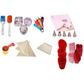 COMBO OF ROUND,SQUARE  FLOWER MOULD,SPATULA,BRUSH,MEASURING CUP,SPOON,DECORATING COMB,SCRAPPER,ICING BAG SET  MUFFIN