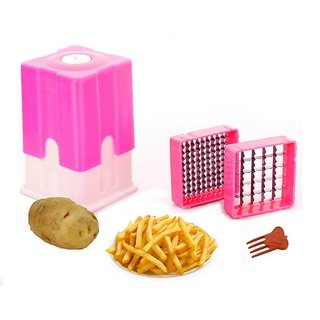 Bluzon ABS Plastic Perfect Potato Finger Chips / French Fries Cutter / Chopper (Pink, White)