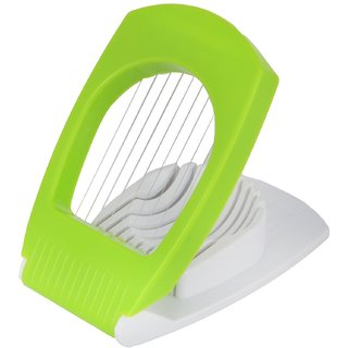 Bluzon ABS Plastic, Stainless Steel Egg Cutter (Green, White, Pack of 1)