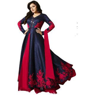 Ap Enterprise Women Georgette Anarkali Semi-Stitched Salwar Suit (ERTY10609BlueFree Size)