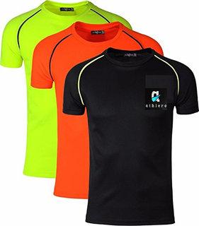 Dri Fit Round Neck Sports T shirt Combo Pack Of 3(Black ,Orange, Yellow)