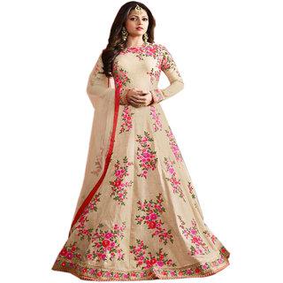 Ap Enterprise Women Silk Anarkali Semi-Stitched Salwar Suit (ERTY10615CreamFree Size)