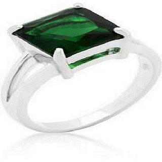 Emerald ring With Natural Emerald Stone Emerald Silver Plated Ring Jaipur Gemstone