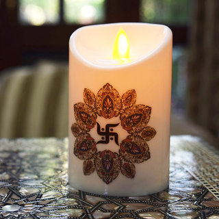 Saiitems Premium Flameless Candle with Moving Wick Swastik