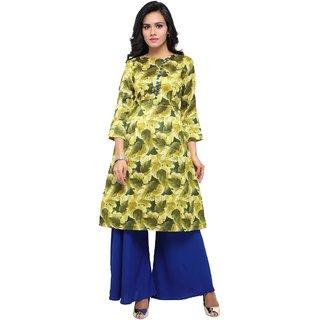 Aagaman Green Silk Casual Wear Printed Salwar Kameez