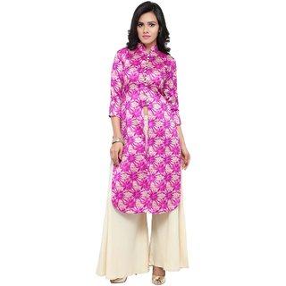Aagaman Pink Silk Casual Wear Printed Salwar Kameez