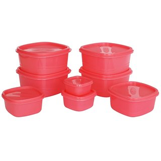 Princeware L-5708 Store Fresh Square Plastic Container Set, 8-Pieces, Pink