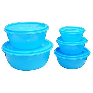 Princeware L-5455 Store Fresh Plastic Bowl Package Container, Set of 5, Blue