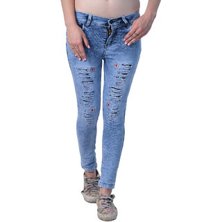 Essence Women's Slim Fit Blue Color Ripped Washed Casual Jeans