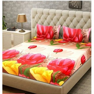Choco Yellow Red Flower Double Bedsheet  With Free 2 Full Size Pillow Cover