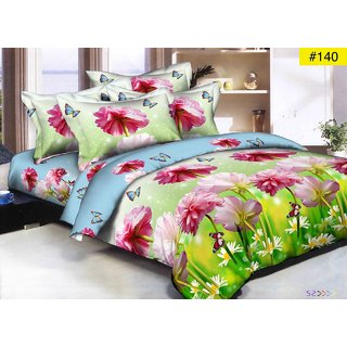 Choco Pink Green Flower 3D Bedsheet With Free Full Size Pillow Cover
