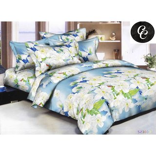 Choco Blue White Lily Flower Double Bedsheet with Free Full Size Pillow Cover