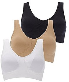 Sparkle  Air Bra for Girls And Women Combo of 3 Black, Beige, White