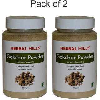 Herbal Hills Natural Gokhru / Gokshura powder (Tribulus terrestris) 100gms - Pack of 2 - For kidneys