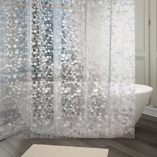 Khushi Creation PVC Shower Transparent Curtain in 3D Coin Design (Width-54 Inches X Height-96 Inches) 8 Feet