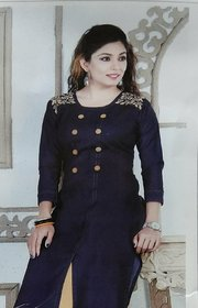Women's Blue Embroidered Denim Kurta