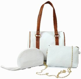 White Purse, Handbag, Clutch, Combo Of 3, White (PU)