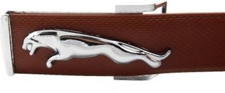 New Collection of Brown Leather Jaguar Design Belt with Auto Lock Buckle (SILVER)