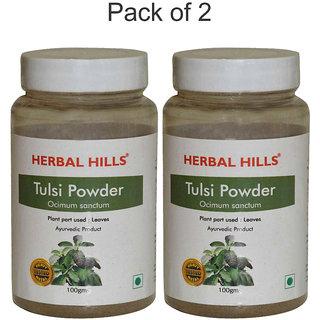 Herbal Hills Natural Tulsi / Basil leaves (Ocimum sanctum) 100gms powder - Pack of 2 - For health and Wellness