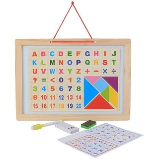 Kids Learning Two Sided Magnetic White  Blackboard With Tangram Educational Wooden Toy, Alphabets, Numbers, Signs  Sha