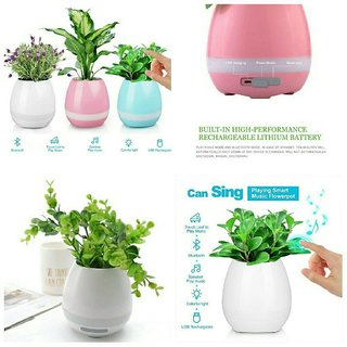 Flowerpot Touch Music Plant Lamp with Rechargeable Wireless Bluetooth Speaker and LED Night Light by Shopaddictions