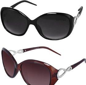 HH Combo Of  (Cherie2BlkBrwn) Womens Sunglasses (Black Brown) Wayfarer Sunglasses For Womens/Girls/Ladies