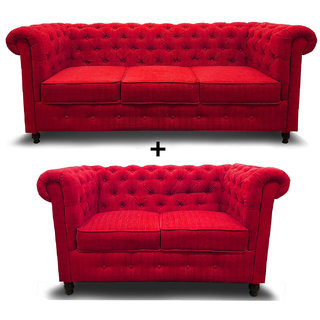 houzzcraft chesterfield sofa set (3+2) (red)
