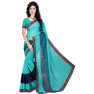 High Street Fashion Style Turquoise Georgette Saree
