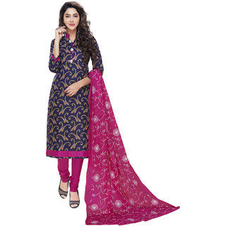 Risera Women's Blue Cotton Bollywood Printed Unstitched Salwar Suit Dress Material