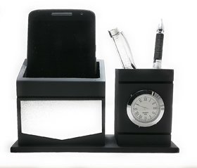 CrownLit Black Color Wooden Desk Table Organizer, Mobile Stand, Pen Stand, Card Holder, Table Clock, Watch Stand