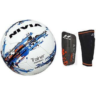 COMBO NIVIA TRAINER FOOTBALL + CLASSIC WITH SLEEVE SHIN GUARD