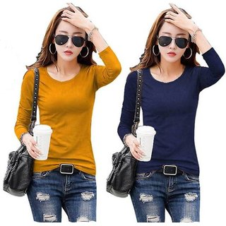 Rosella Pack Of 2 Navy Blue And Mustard Tops