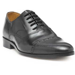 HATS OFF ACCESSORIES Black Leather Oxford Shoes For Mens (HOA-AW1721)