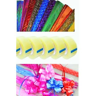 Big combo( 40 Gift wrapping plastic paper size 50 by 70 , 40 Gift wrapping pull ribbon and 5 cello tape L 25 m)