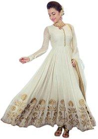 Aika Women's trisha Cream Georgette Embroidery Anarkali Salwar Suit