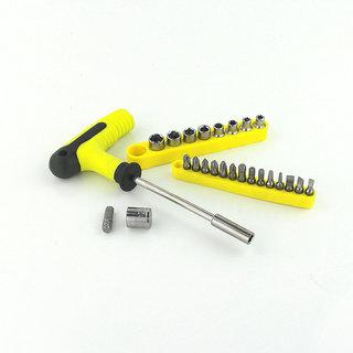 Ezzi deals 25 pieces 4 12 mm Socket Wrench head metric socket set kit  , Screw driver set .T-BAR SOCKET  BIT SET