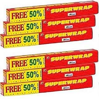 Hindalco Superwrap Aluminium Foil 20g + 10g (Pack of 6)