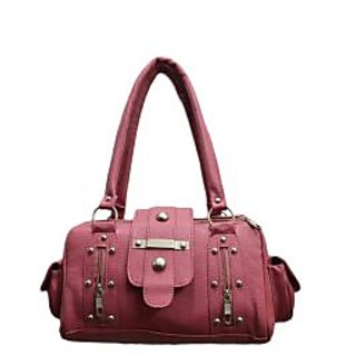 Classic Suede Pattern Hand-Bag in Plush Pink with embezzled Studs (HB24-PNK)