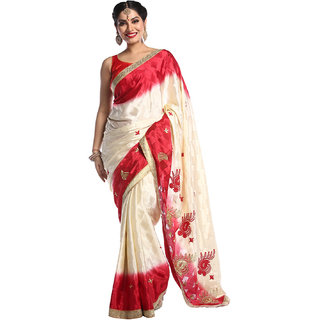 Chhabra 555 Offwhite & Red Poly Crepe Embroidered Saree