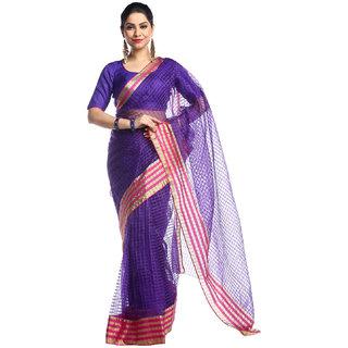 Chhabra 555 Purple & Pink Coloured Checked Design Cotton Silk  Saree