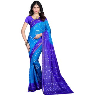 sharda creation Multicolour Tussar Silk Bandhej Saree With blouse