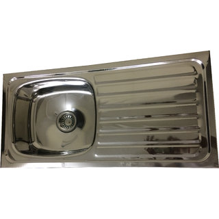 MLPK Kitchen Sink Single Bowl With Drain Board (37x18x8) inches