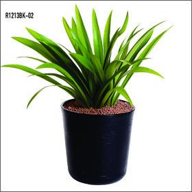 Sereno Bello Plastic Flower Pot Round Planter (12 x 13)  in Black finish (Garden flower pots / Artificial plants)